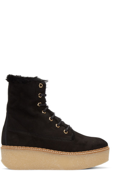 Flamingos - SSENSE Exclusive Black Shearling Stacy Boots