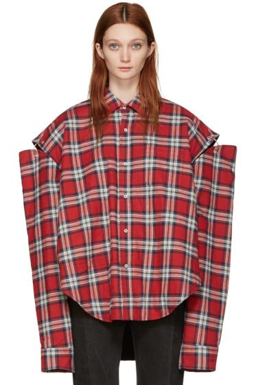 Vetements - Red Check Football Shoulder Shirt