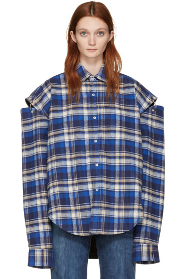 Vetements - Blue Flannel Football Shoulder Shirt