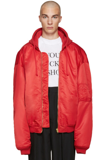 Vetements - Red Oversized Bomber Jacket