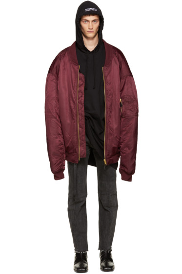 Vetements - Burgundy Oversized Reworked Bomber Jacket