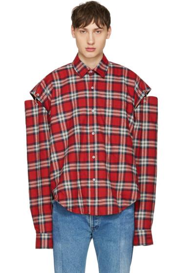Vetements -  Red Flannel Football Shoulder Shirt