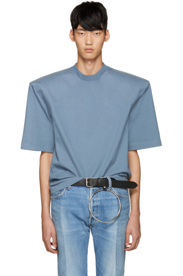 Vetements - Blue 'Are We Having Fun Yet' Football Shoulder T-Shirt
