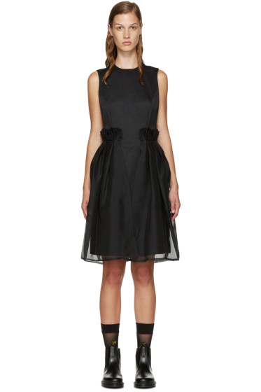 Noir Kei Ninomiya - Black Chiffon Overlay Dress