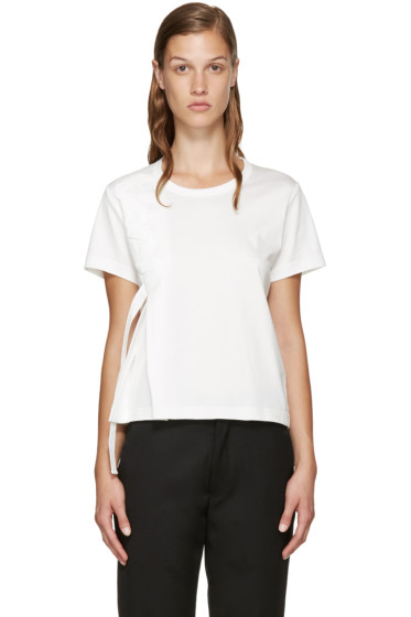 Noir Kei Ninomiya - White Leather Ribbon T-Shirt