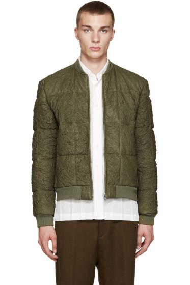 Loewe - Green Lambskin Quilted Bomber Jacket