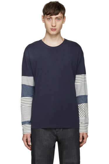 Loewe - Navy Striped Sleeve T-Shirt