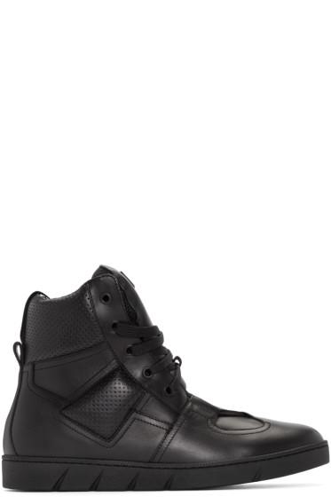 Loewe - Black Leather High-Top Sneakers