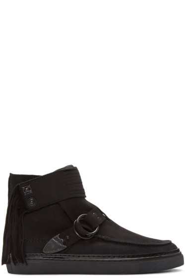 Toga Virilis - Black Nubuck Western High-Top Sneakers