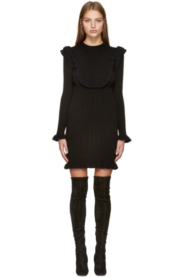 Fendi - Black Knit Ruffled Dress
