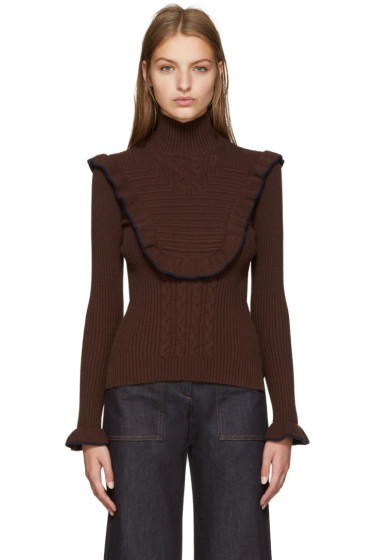 Fendi - Brown Ruffled Turtleneck