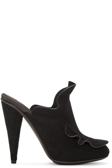 Fendi - Black Suede Waves Mules