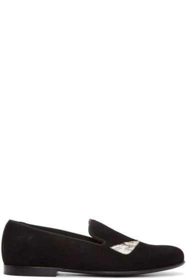 Fendi - Black Suede Bug Eyes Loafers