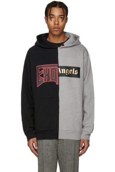 Palm Angels - Black & Grey Exoangels Hoodie