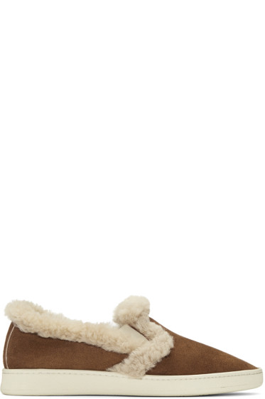 Palm Angels - Brown Shearling Slip-On Sneakers