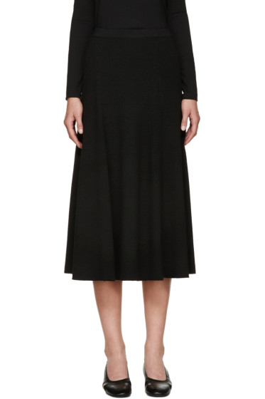 Rosetta Getty - Black Wool Ribbed Flared Skirt