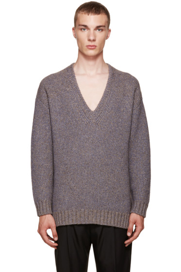 Wooyoungmi - Grey V-Neck Sweater