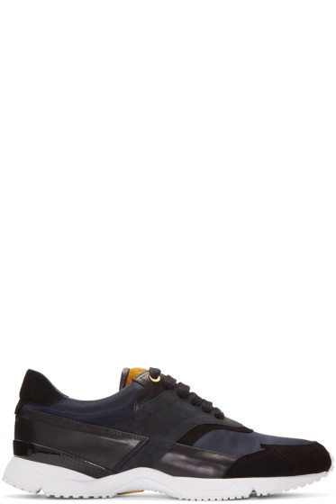 Wooyoungmi - Navy Calf-Hair Trim Sneakers