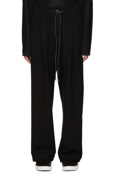 Attachment - Black Wool Wide-Leg Trousers