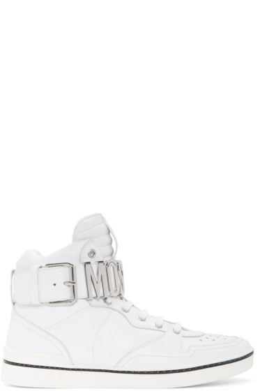 Moschino - White Logo High-Top Sneakers