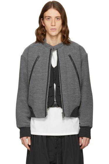 Issey Miyake Men - Grey Bouclé Bomber Jacket