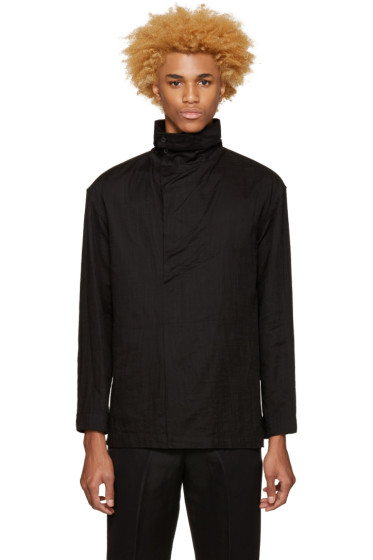 Issey Miyake Men - Black Draped Collar Shirt
