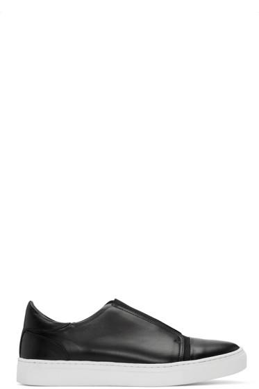 Issey Miyake Men - Black Leather Slip-On Sneakers