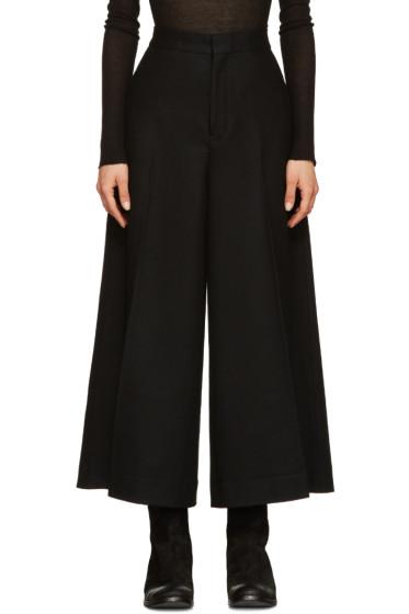 Y's - Black Wool Cropped Trousers