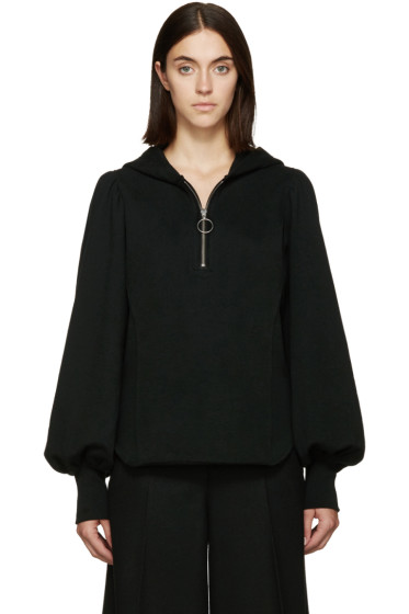 Y's - Black Gathered Sleeves Hoodie