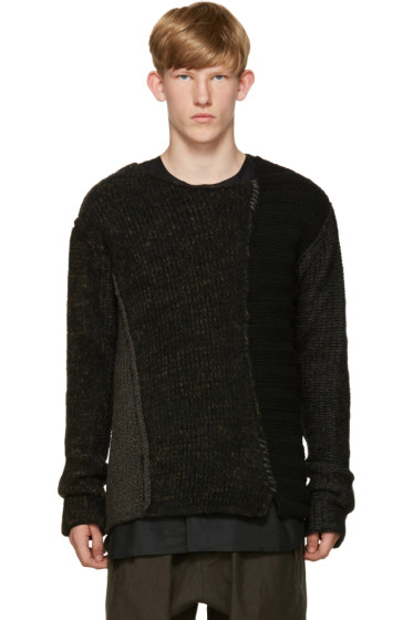 Isabel Benenato - Black Patchwork Sweater