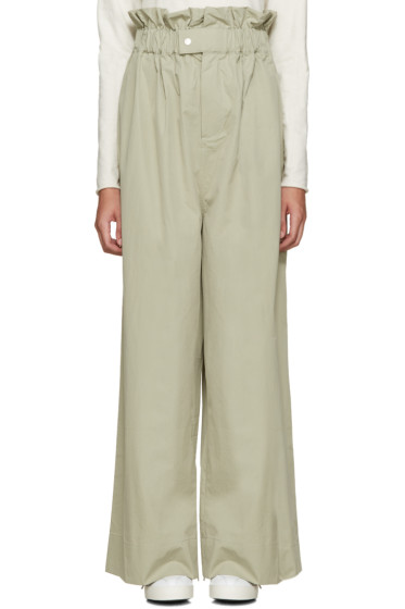 Craig Green - Green Wide-Leg Pleated Trousers