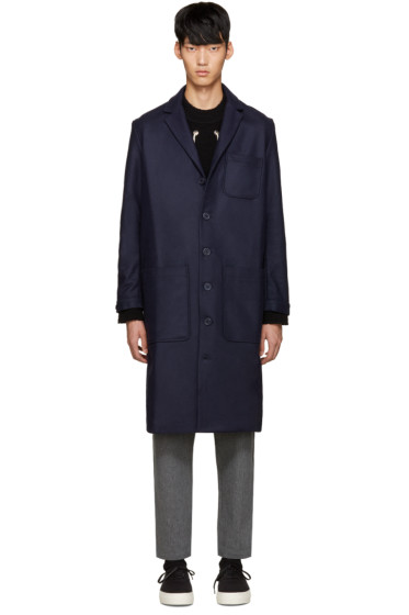 Sunnei - Navy Wool Classic Coat