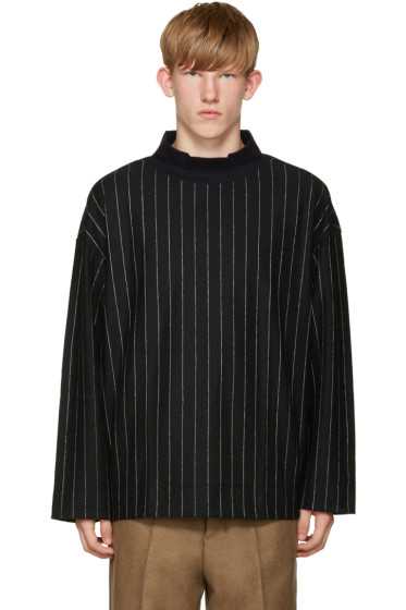 Tomorrowland - Navy Wool Pinstriped Turlteneck