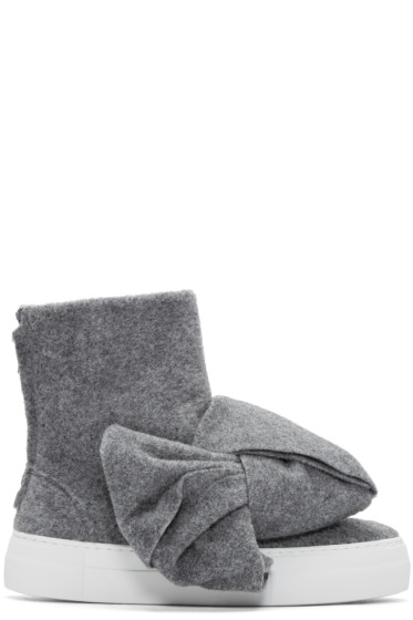 Joshua Sanders - Grey Felt Bow High-Top Sneakers