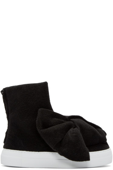 Joshua Sanders - Black Felt Bow High-Top Sneakers