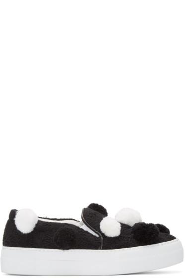 Joshua Sanders - Black Pom Pom Slip-On Sneakers