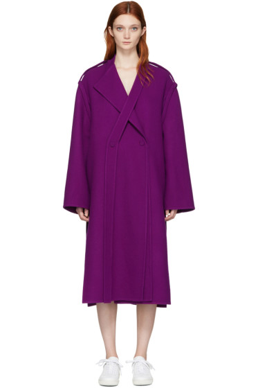 Ports 1961 - Purple Wool Double-Breasted Coat