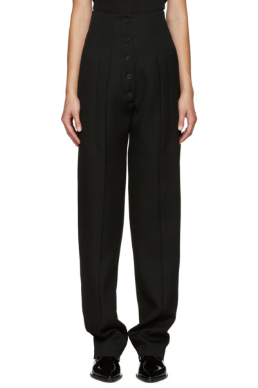 Victoria Beckham - Black Pleated Wool Trousers