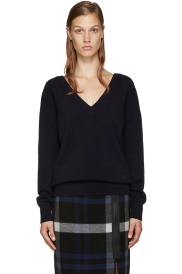 Victoria Beckham - Navy Double V-Neck Sweater
