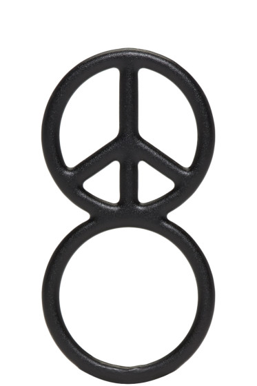 Haal - Black Peace Sign Ring