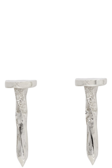 Lauren Klassen - White Gold Nail Earrings