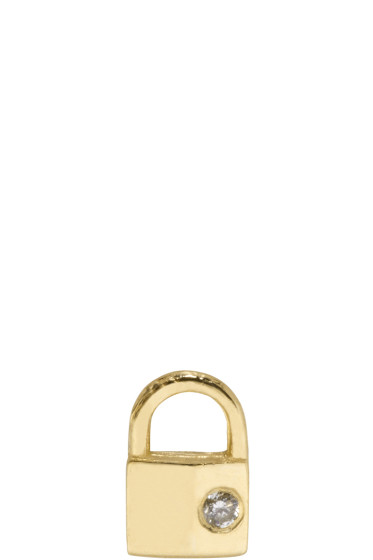 Lauren Klassen - Gold Tiny Padlock Earring