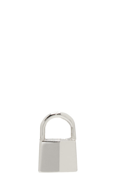 Lauren Klassen - White Gold Tiny Padlock Earring