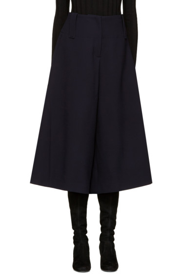 Cyclas - Navy Wool Panelled Culottes