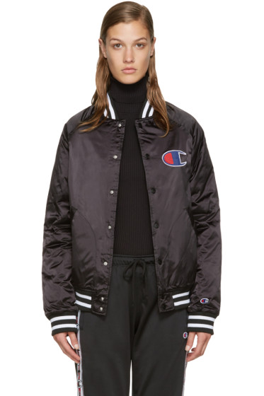 Champion Reverse Weave - Black Satin Logo Bomber Jacket