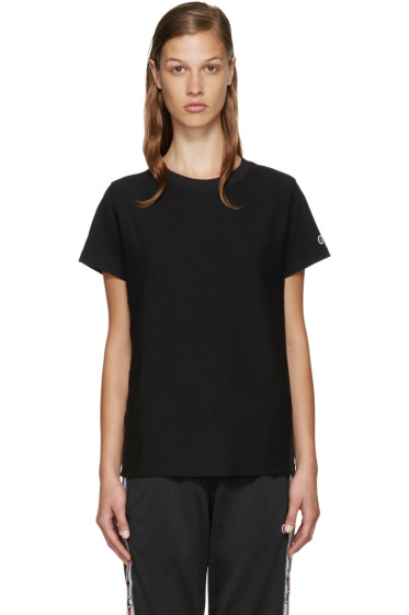 Champion Reverse Weave - Black Logo T-Shirt
