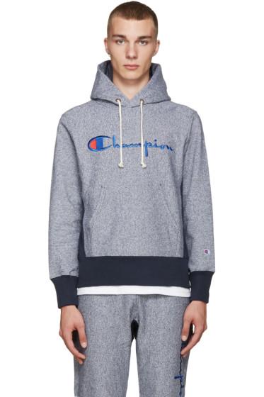 Champion Reverse Weave - Navy Big Logo Hoodie