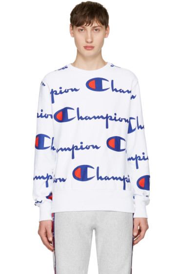 Champion Reverse Weave - White All Over Logo Pullover