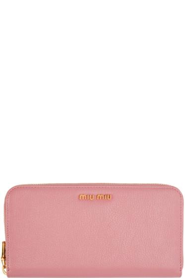 Miu Miu - Pink Leather Continental Wallet