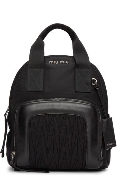Miu Miu - Black Nylon Matelassé Backpack